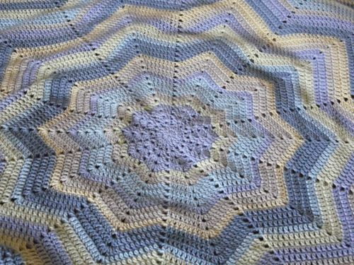 Crochet Star Ripple Baby Blanket Cotton Yarn