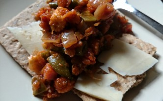 leftover Bolognese with spelt crackers
