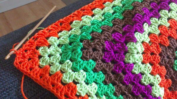 Crochet Autumn Blanket Granny Square Cotton Yarn