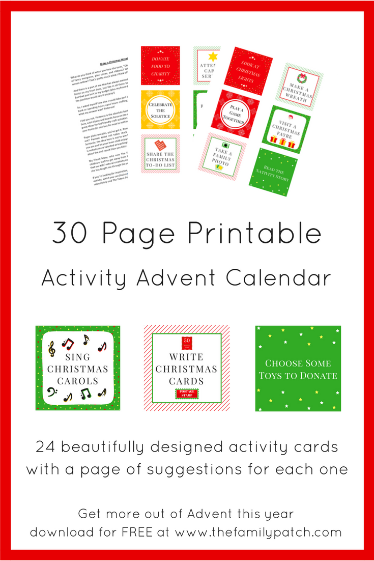 The Family Patch's Free Advent Activity Calendar Printable PDF