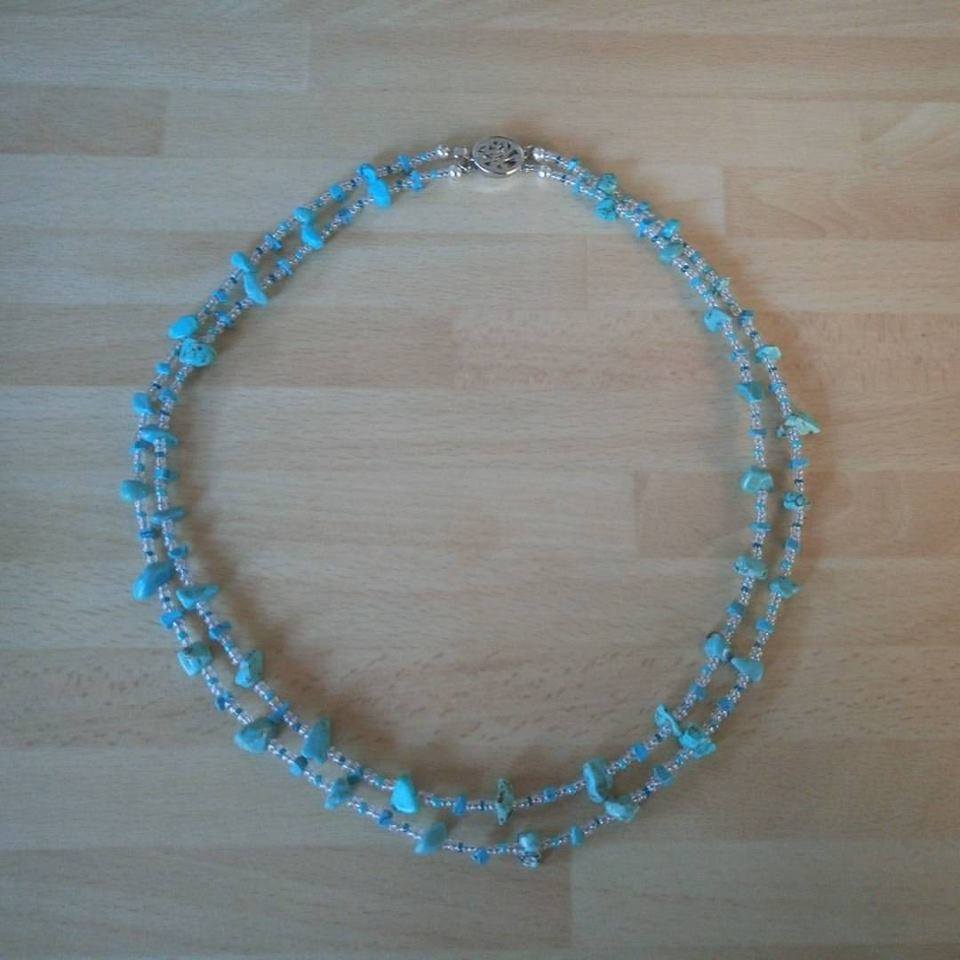 Turquoise and seed bed two strand necklace #PHWinterWorkshop charity auction GOSH